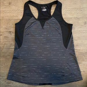 Black and grey racer back tank top